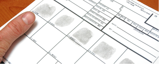 fingerprints taken onto a card