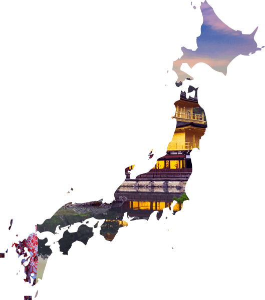 Traditional Japanese architecture overlaid on a map of Japan
